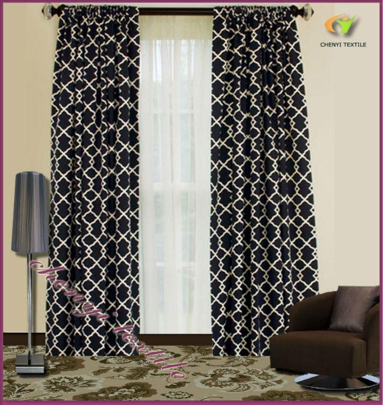 New Luxury Black White Jacquard Curtains Fabrics - Buy Curtains ...
