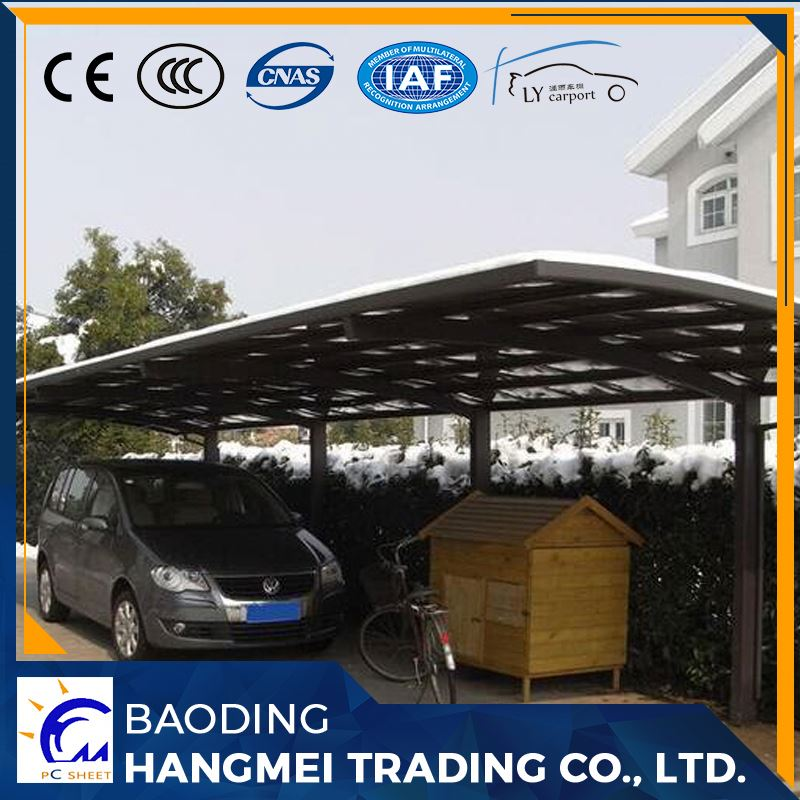 Polycarbonate roof metal carport for 2 cars