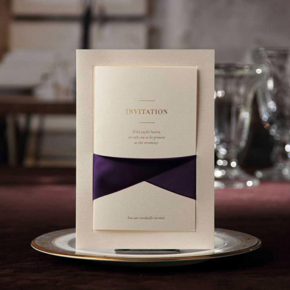 wedding invitations cards with purple ribbon pocketfold