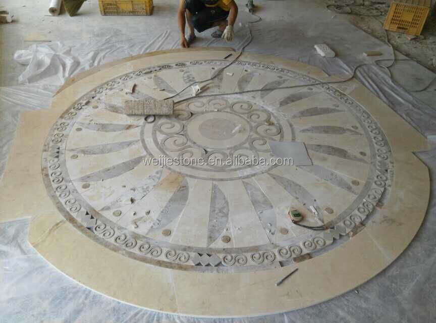 waterjet stone tiles design floor pattern medallion for hotel