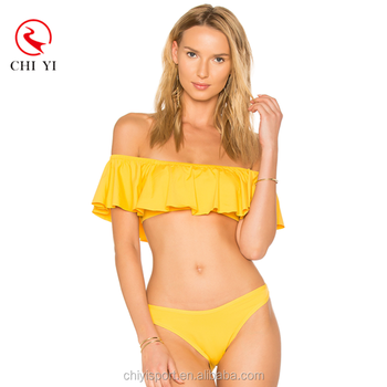 Hot Sale Classical Yellow Color Young Teen Swimwear With Flouncing