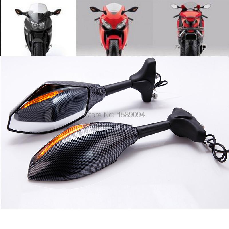 Углерода мотоцикл мотоцикл из светодиодов поворотники интегрального показателя заднего вида зеркала дым