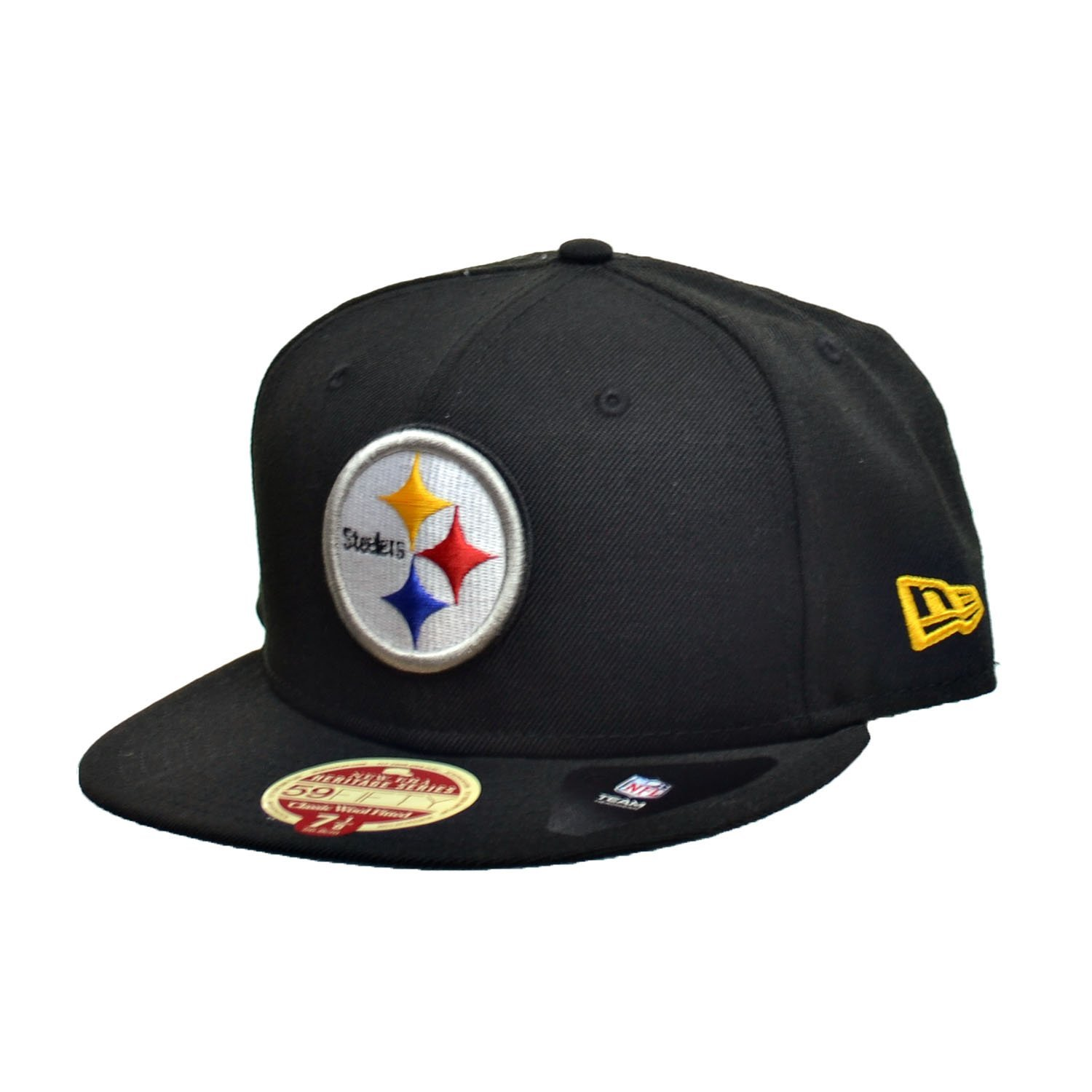 new concept 111b4 bdc7f New Era Pittsburgh Steelers NFL 59Fifty Fitted Hats Athletic Caps Black White  80200930