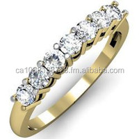 14K YELLOW GOLD WEDDING BAND 5 DIAMONDS LADIES RING SIZE 6.5