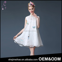 Fast Delivery Wholesale White Color Stand Collar Sleeveless Silk Lovery Fashion Summer Dress
