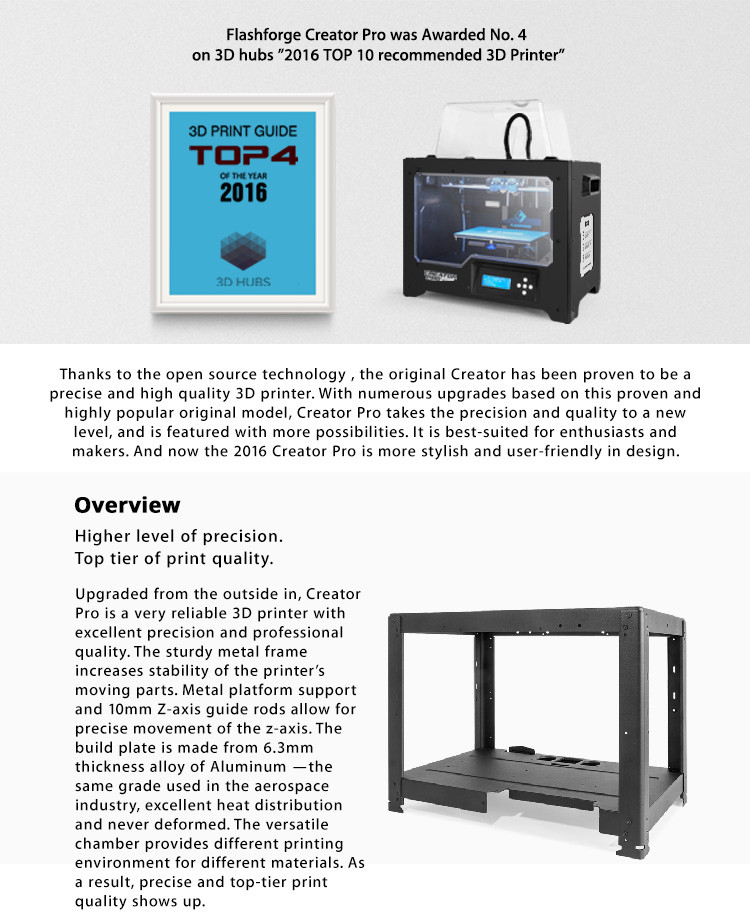 flashforge creator pro best home desktop industrial 3d printer