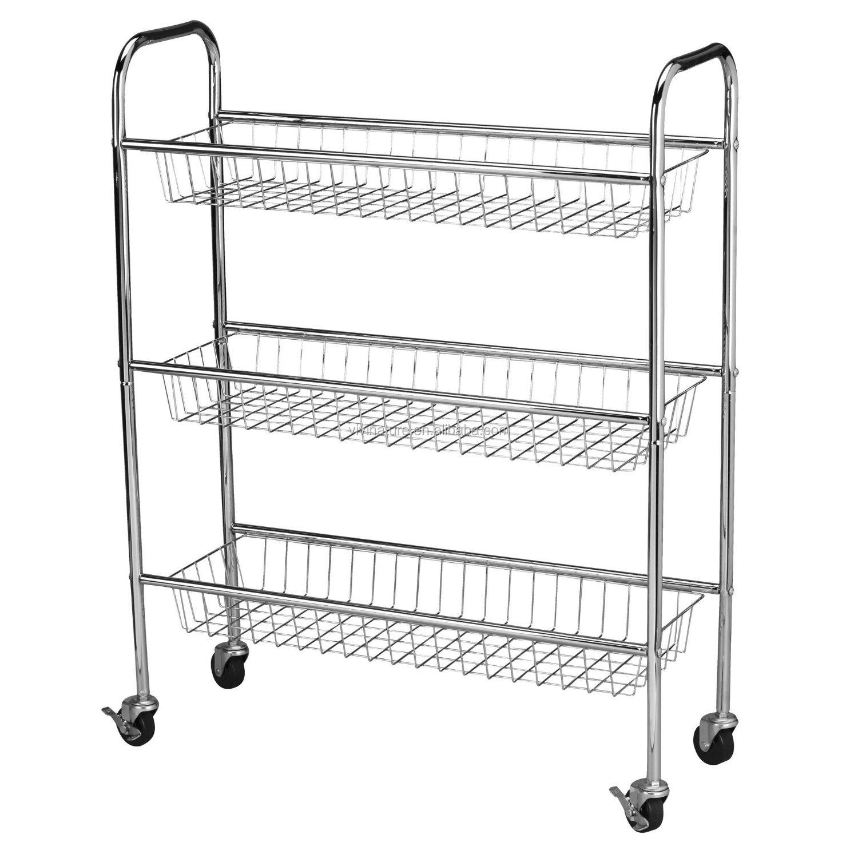 Metal Wire Kitchen Rack With 4 Wheels Kitchen Storage Rack Trolley