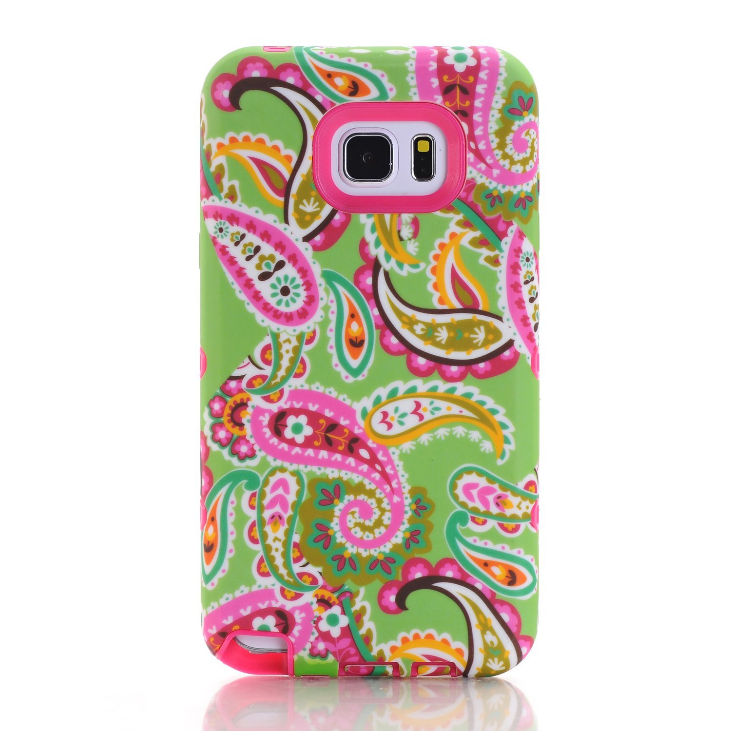 Rosepark Galaxy Note 5 Case,Note 5 Case, (TM) Paisley Flower Pattern 3in1 Hybrid Rugged Heavy Duty Protection Shockproof Case Case for Samsung Galaxy Note 5(Hot Pink),with Screen Protector+Stylus