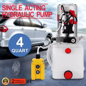 12V 4 Quart Car Lift Hydraulic plastic Pump Power Supply Unit Single Acting for Dump Trailer