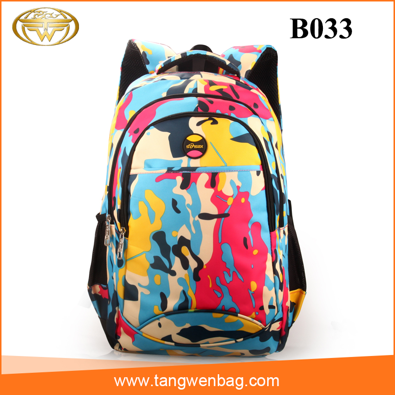 Good quality senszx camouflage fashion nylon school backpack for children