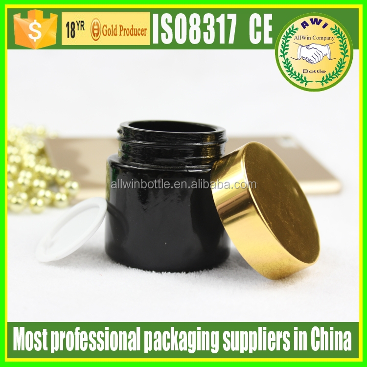 fancy glass bottles black 100g glass cream jars with gold lid wholesale