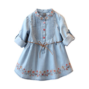 Ivy10318A Kids girls embroidered dress summer 2019 long sleeve denim frocks