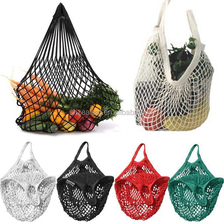 Reusable organic cotton tote mesh shopping string net bag for vegetables