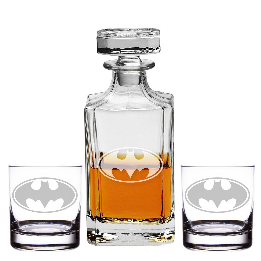 Abby Smith, Batman Engraved Decanter and Rocks Glasses, Set of 3