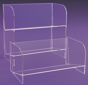 Clear Acrylic CD DVD Shelving Units Bins Easel Display Stands Rack