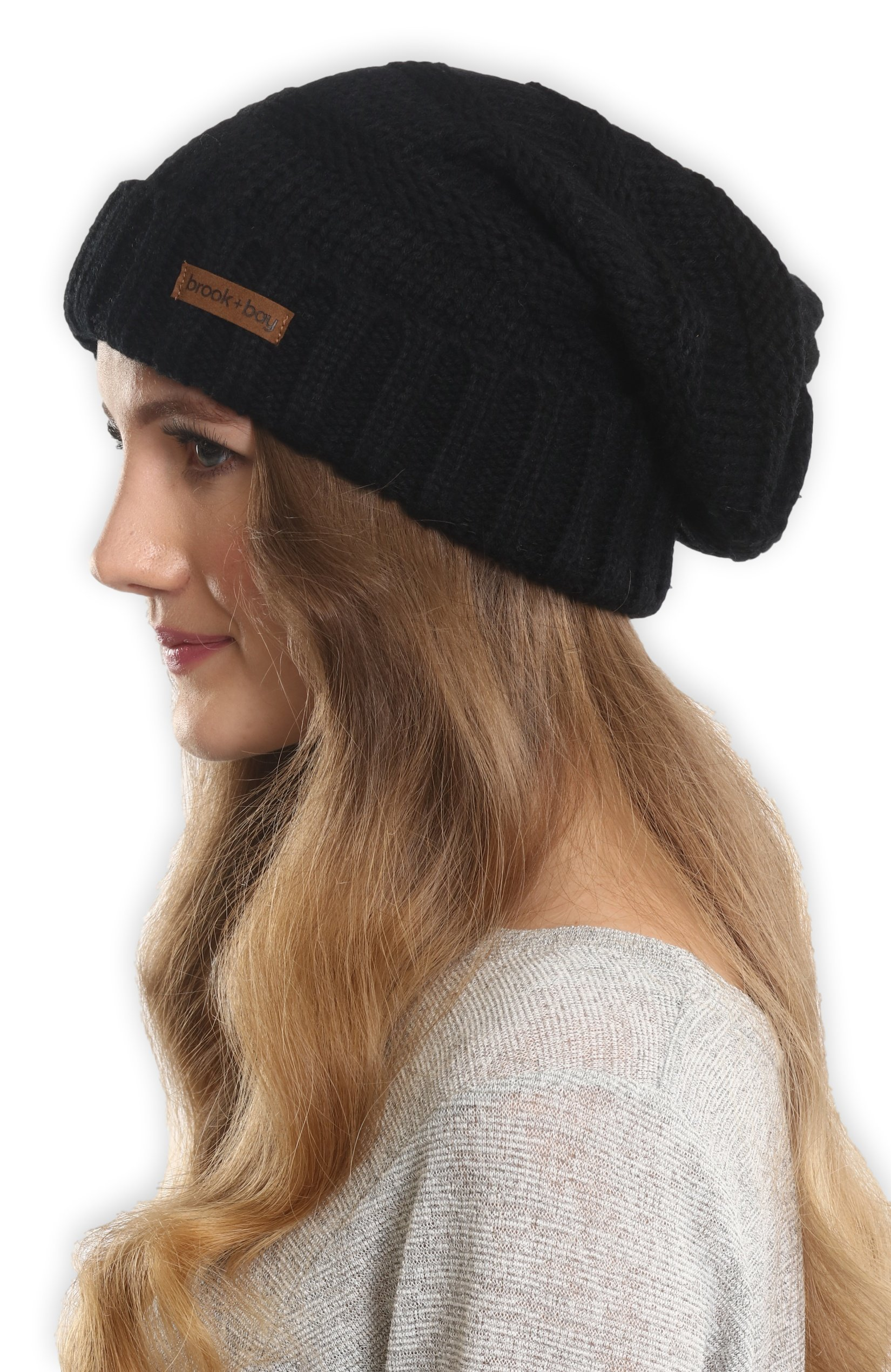 8930167c3a2 Get Quotations · Brook + Bay Slouchy Cable Knit Cuff Beanie - Stay Warm    Stylish - Chunky