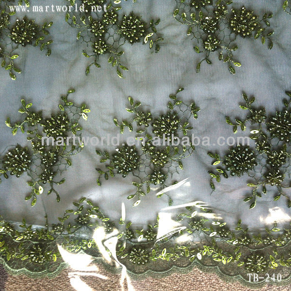 natural green embroidery design and beaded heavy lace fabric for wedding dress(TB-240)