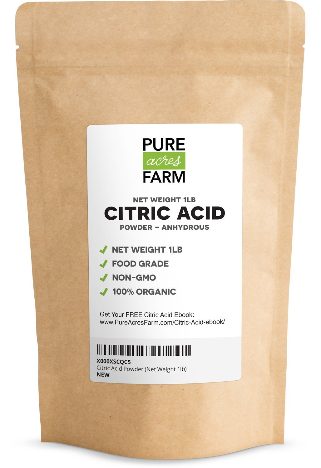 Pure Citric Acid Powder - 1 Pound. Food Grade, Non-GMO, Organic. Great For Bath Bombs, Wine, Home Brew, Or Cleaner
