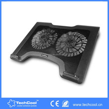 Double fans cooling pad with blue LED lights laptop cooler pad wholesale computer accessories
