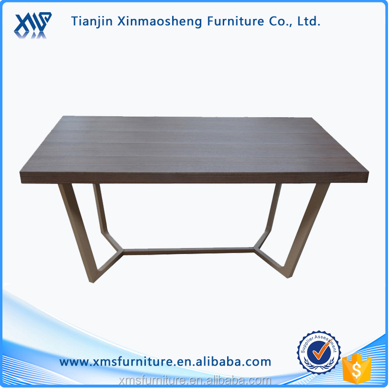 European Style MDF Veneer Walnut Color Dining Table with painting steel Frame DT-809