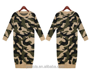 Women Camouflage Winter Autumn Bottoming Dress Knit Long Sweater Pullover Dress