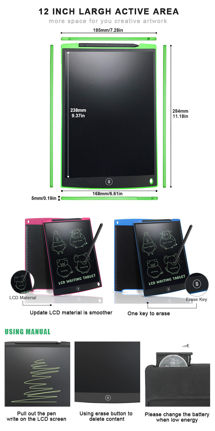 Hot Sale Promotion 12 Inch Message Board Kids Lcd Writing Tablet Paperless Drawing Pad