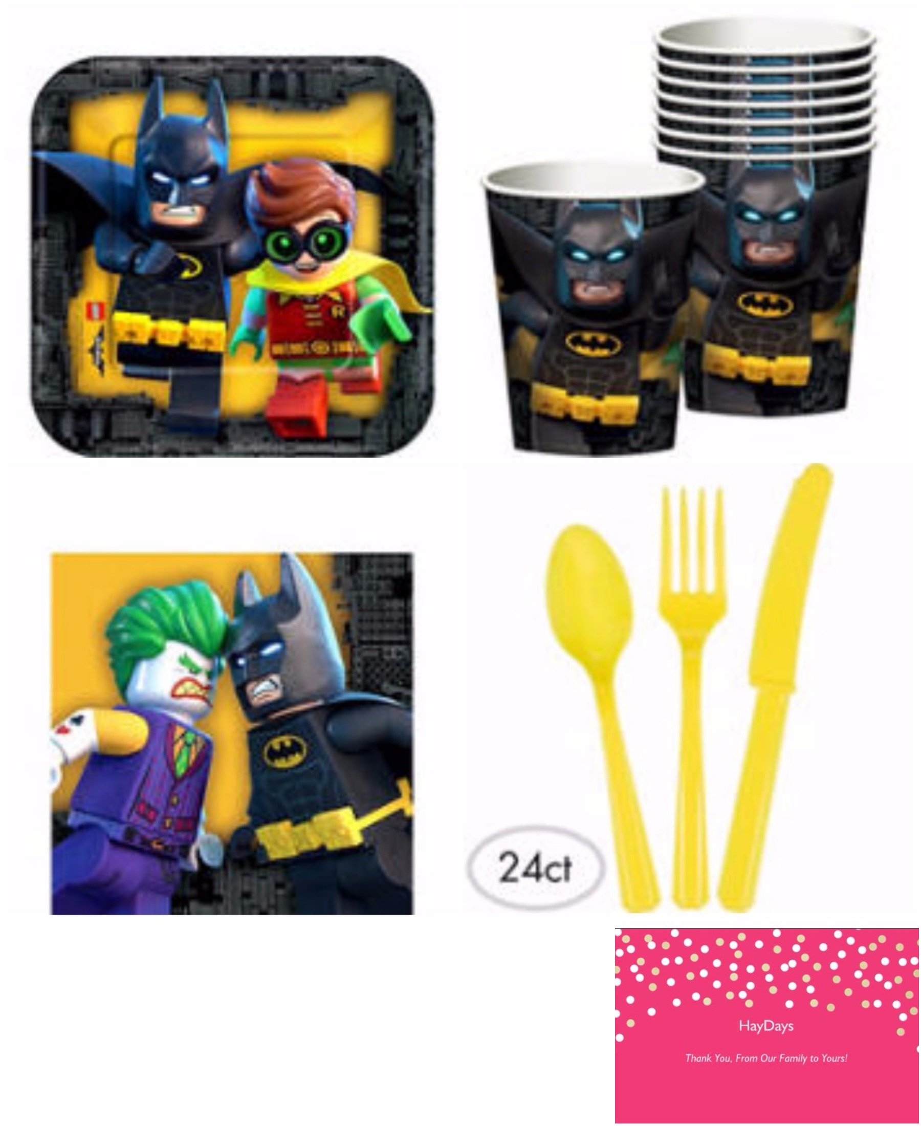 Lego Batman Movie Party Pack Bundle- For 8 Guests- Supplies Plate Cup Napkin Cutlery