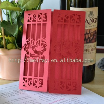 Love Birds Wedding Favors Laser Cut Bird Red White Invitations Made In China