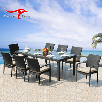 Garden 8 Seaters Rattan Wicker Furniture Patio Table Set with Glass Top