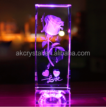 Attractive love gifts type, rose flower engraved inside with led light base 3D laser crystal glass cube