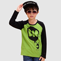 Long Novelty Children T shirt 2016 Fashion Cotton Green Unisex Tops And Tees O neck Children