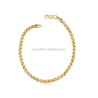 14k Yellow Gold Filled Unisex 3.5mm Round Box Link Chain Bracelet Accessories For Women Jewelry