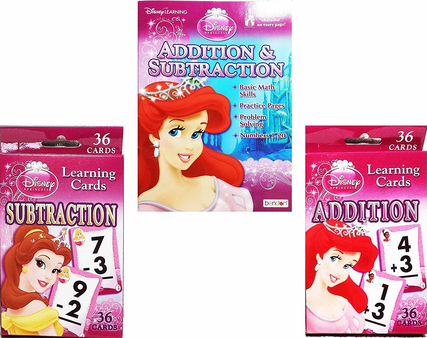 Buy Disney Princess Addition & Subtraction Workbook and Flashcards ...