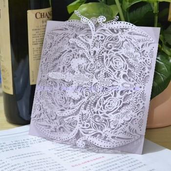 Lilac Wedding Cards Light Purple Invitations Laser