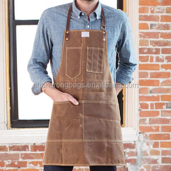 Mens Rust Waxed Canvas & Horween Leather Apron,Heavy Canvas Aprons ...