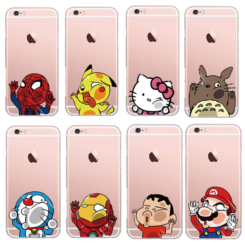 premium selection 80244 67959 Cute Cartoon Spider-man Stitch Hello Kitty Soft Transparent Phone Case  Cover For iPhone 6 6s/plus Shell Hit the mirror Logo