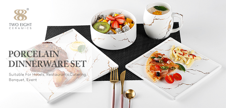 28 Ceramics High End Used Wholesale Price Dinnerware Sets for Banquet Event Party Ceramic Marble Dinner Set Tableware*