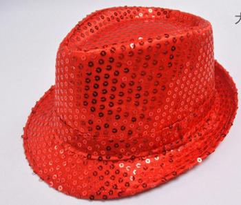 e373926abdb LED Fedora Hat Sequin Flashing Light Up Jazz Cap Costume Fancy Dress Adult  Rose Red