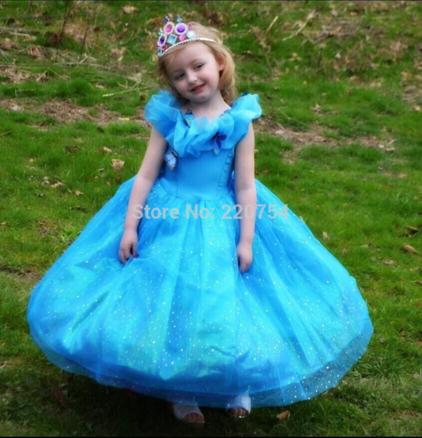 Cinderella 2015 Costumes Girls Dresses Shoes Jewelry: 2015 Movie Cinderella Deluxe Dress Girl Princess Dress