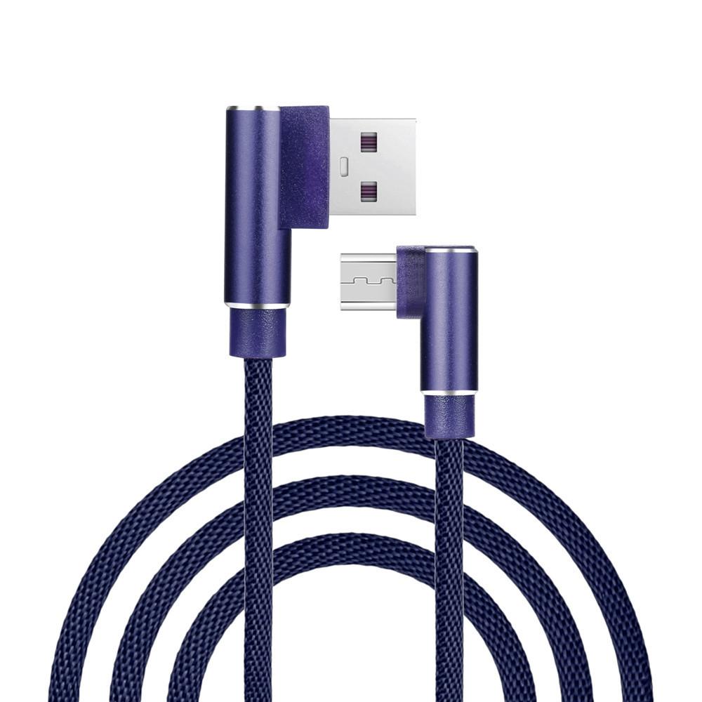 90 graden Gevlochten Micro Usb-kabel Snelle Opladen Datatransmissie Telefoon Oplader Voor Samsung