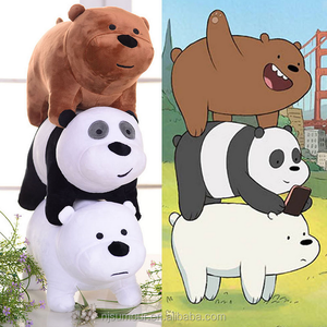 3pcs We Bare Bears Plush Toy Grizzly Panda Ice Bear Stuffed Soft Doll 12x25cm