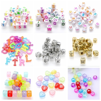 Wholesale Different Styles Alphabet Letters 6mm Letter Beads Cube