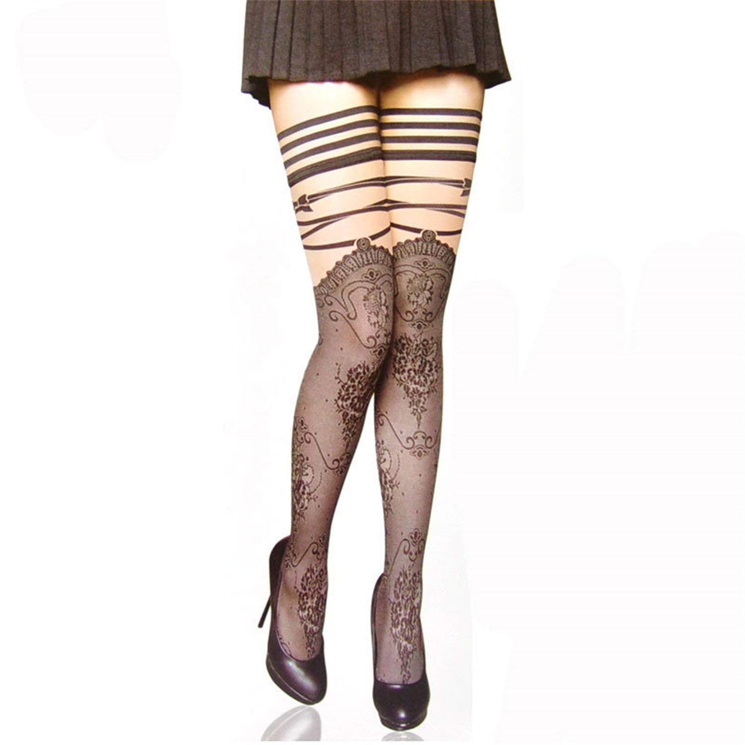 94d173719b7 Get Quotations · Solme Hot Sell Punk Gothic Wedding Sexy Cuban Heel Wide  Knee Lace Stockings Print Striped Sheer