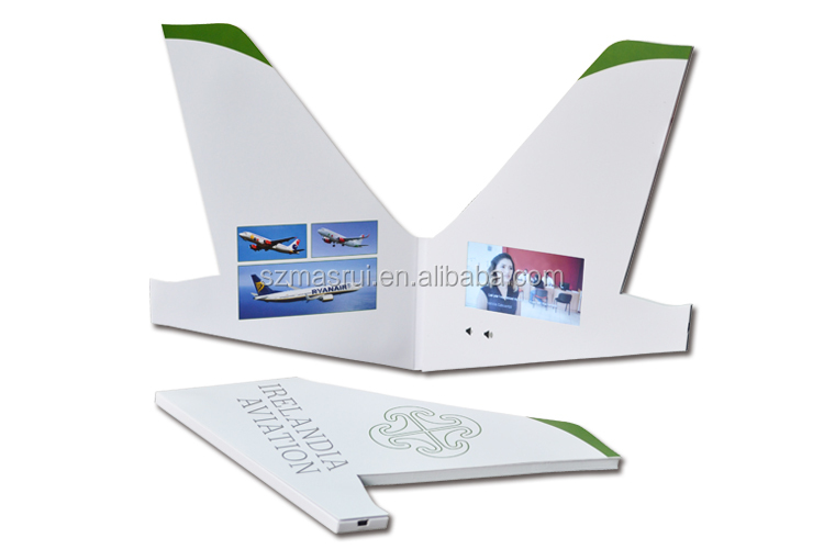 Unique design amazing plane style video brochure 7 inch video greeting card video digital invitations  gift for exhibition