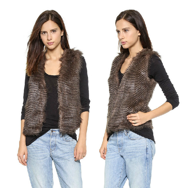 Wholesale Women Sleeveless Faux Fur Vest Fashion Design 2014