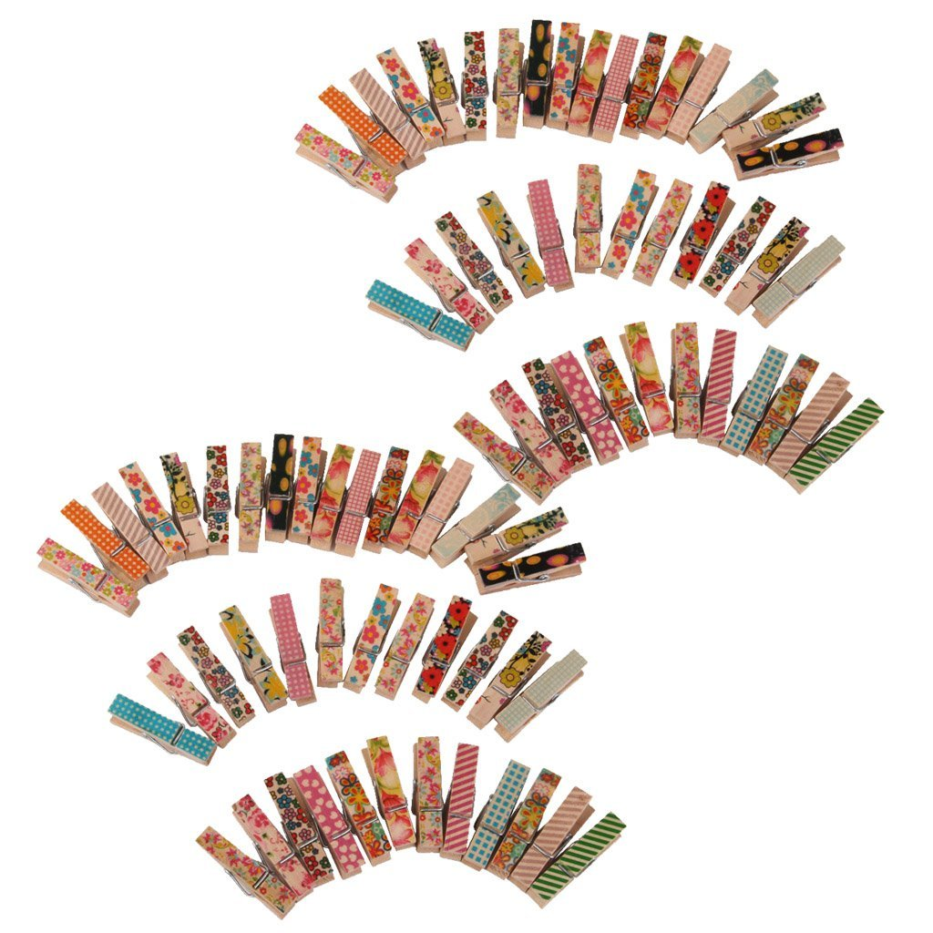 Jili Online 100 Pieces 35mm Mini Wooden Coloured Craft Clothes Pegs Wood Crafting Cardmaking