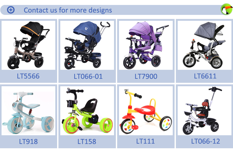 steel smart baby carrier tricycle / kids trike with removable umbrella and push bar / cheap china push trike with pneumatic tyre