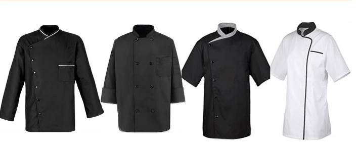Latest design custom short sleeve side opening restaurant cooking coat hotel uniform zipper black kitchen jacket
