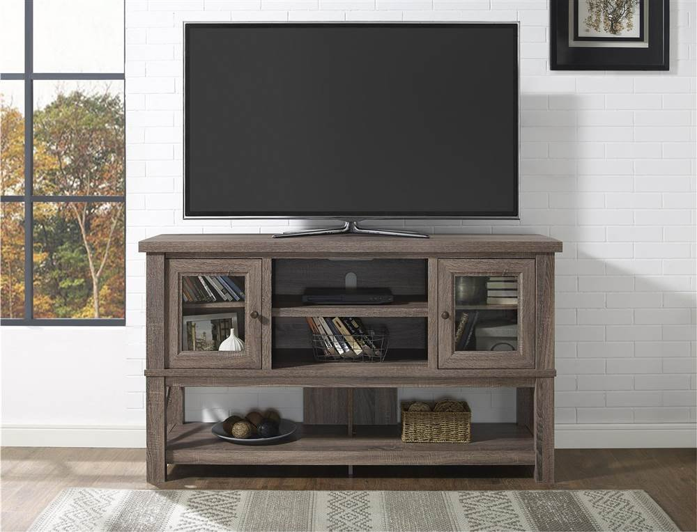Get Quotations · TV Stand With Glass Doors In Sonoma Oak Finish