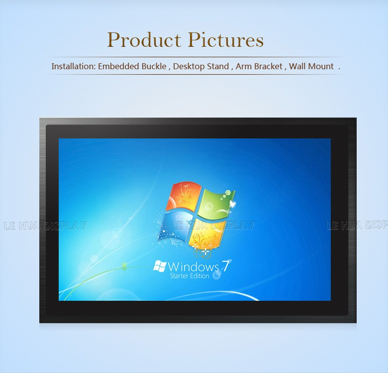 IP66 3mm Seamless Front Panel 19inch Industrial Embedded 5-wire Resistive Touch Screen PC with Aluminum Alloy Housing (Black)
